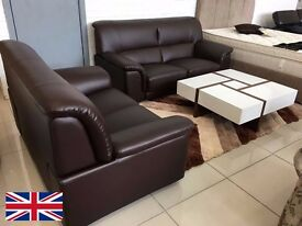 MIAMI LEATHER SUITE 3 SEATER & 2 SEATER - BLACK - BROWN - CREAM - DELIVERED NATIONWIDE