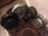 220kg standard cast iron weights plus bars