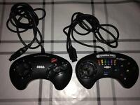 2x megadrive controllers