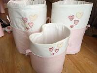 Girls toy storage tubs baskets