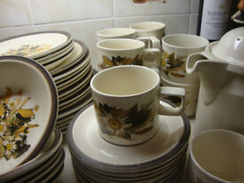 Doverstone Staffordshire dinnerset pressed flower design with coffee pot,cups,plates ,bowls and jug