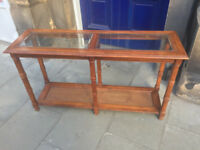 Console Table , great for hallways . Glass topped Size L 51in D 16in H 28in. Free Local Delivery.