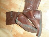 brown/red ladies soft leather boots