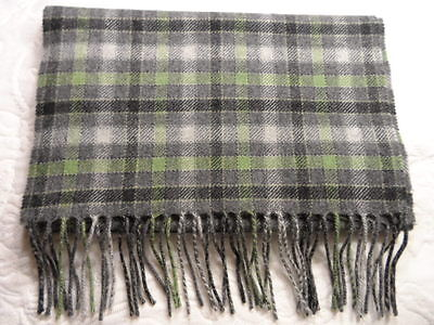 ALAN FLUSSER 100% CASHMERE SCARF GRAY AND GREEN CHECKS PATTERN