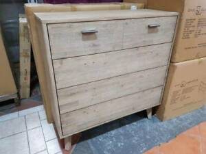 NEW BOXED STOCK! 4 drawer brushed timber tallboy chest of drawers