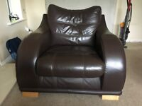 Brown Leather 3 Seater Sofa, Chair and Stool