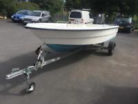Salcombe flyer 440 30hp Suzuki dt electric start boat dory fishing