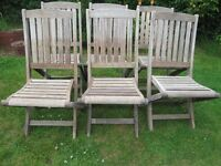 6 FOLD UP HARDWOOD/TEAK CHAIRS IN NEED OF PAINT /OIL IN GOOD CONDITION