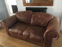 Laura Ashley vintage brown leather sofa