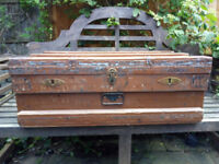 Large vintage brown painted wooden chest/box/trunk with brass and metal fittings. Great coffee table