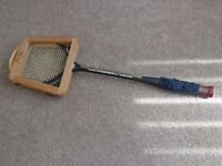 Retro squash racquet with wooden cover