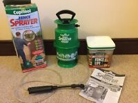 New Garden Fence sprayer & unopened 5 litre tub dark oak sprayable dark oak stain