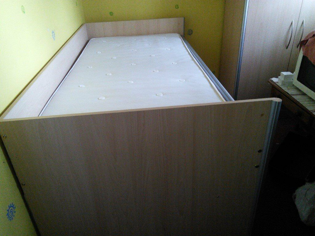 Cabin bed and mattress Drawers steps cupboard and pull out desk.Storage under.