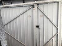 White metal garage door, 1/3 2/3 split