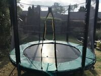 8ft trampoline with new enclosure and padding. Buyer must collect and dismantle