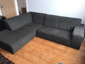 Habitat Grey Corner Sofa and Pouf