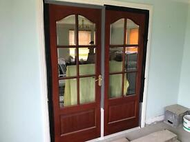 Mahogany 6 panel glass door
