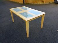 Frosted Glass & Wood Table FREE DELIVERY 128