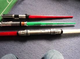 JOB LOT 3 x star wars light sabers - 2 x plastic basic + 1 old double edged lights-