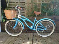 "Lovely Blue 26"" Wheel Classic Ladies Comfort Beach Style Cruiser Bike with Wicker Basket & Mudguards"