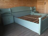 Bedroom Set of furniture. Extra-King size bed, side tables, two cupboards, drawer unit and mirror