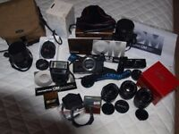Olympus OM2 Spot Programme 35mm SLR Camera (boxed) + 4 Lenses + T32 flash + Winder 2 + accessories