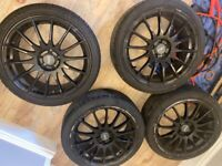 """4 17"""" Black Fox Alloy Wheels. Powder Coated (tires included)"""