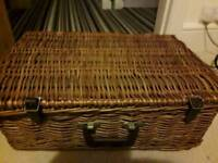 Hamper/ basket in excellent condition.Did have a picnic set used in VW campers,dates back to 50/60's