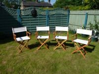 Set of 4 Folding Directors Chairs in a clean reasonable condition as over 30 years old