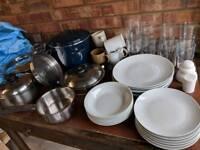 Huge kitchen starter set plates glasses sauce pans