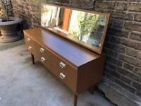 Schreiber dressing table chest of drawers with mirror mid century
