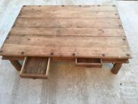 Solid oak rustic coffee table
