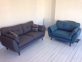 Unused(!) DFS French Connection Zinc 3-seater sofa (charcoal) and cuddler chair (teal blue)