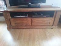 Solid Wooden Oak Effect TV Unit