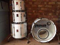 Vintage 1980's Premier Resonator Drums in Piano white