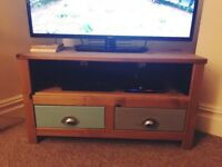 Grey & duck egg TV stand with silver handles