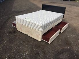 Bargain Luxury Divan Double Bed & Mattress Clean Condition,Fast Free Delivery In Norwich,