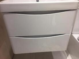 White gloss drawer unit without basin. 600mm