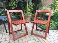 Folding Timber Garden Chairs, matching Pair