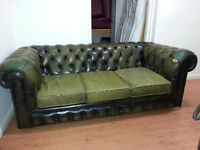 tup quality antique chesterfield. lovely green leather three setter.