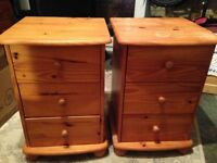Two Pine bedside drawers
