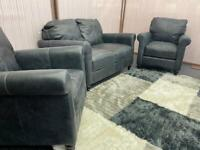 Slate grey leather 2 seater sofa with 2 matching armchairs