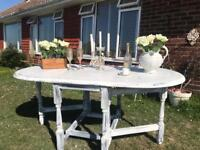 French Shabby Chic Style Drop Leaf Dining Table sit 6