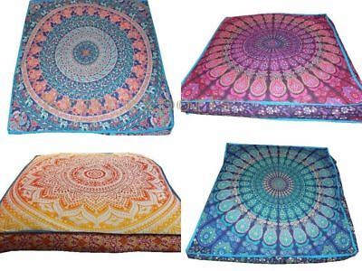 Indian Mandala Square Floor PillowCases Large Ethnic Boho Box Cushion Cover Pouf