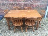 5ft Solid Pine Dining Table And 6 Chairs