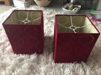 Pair of Red Lamp Shades