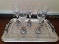 Tray & 5 glasses