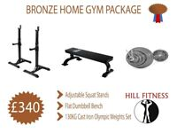 Bronze Home Gym Package - Squat Stands Flat Dumbbell Bench Olympic Weights and Barbell