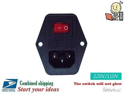 Male AC Power Cord Inlet Plug Socket With Rocker Red Switch Fuse Holder,250V,10A