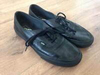 Black Leather Vans, Size UK 8